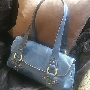 Navy Blue Leather Shoulder Purse